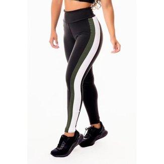 Calça Legging Feminina Fitness Academia Preta com Verde Militar e Vivo Branco Cintura Alta
