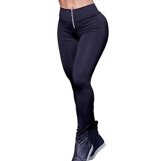 Calça Legging Feminina Poliéster Ziper Lisa Preto