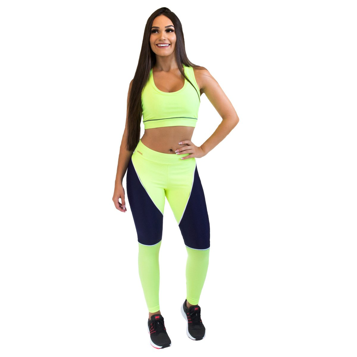 Feminina Fit Girl Power Verde Legging e Training Calça Azul Brasil AYqwB