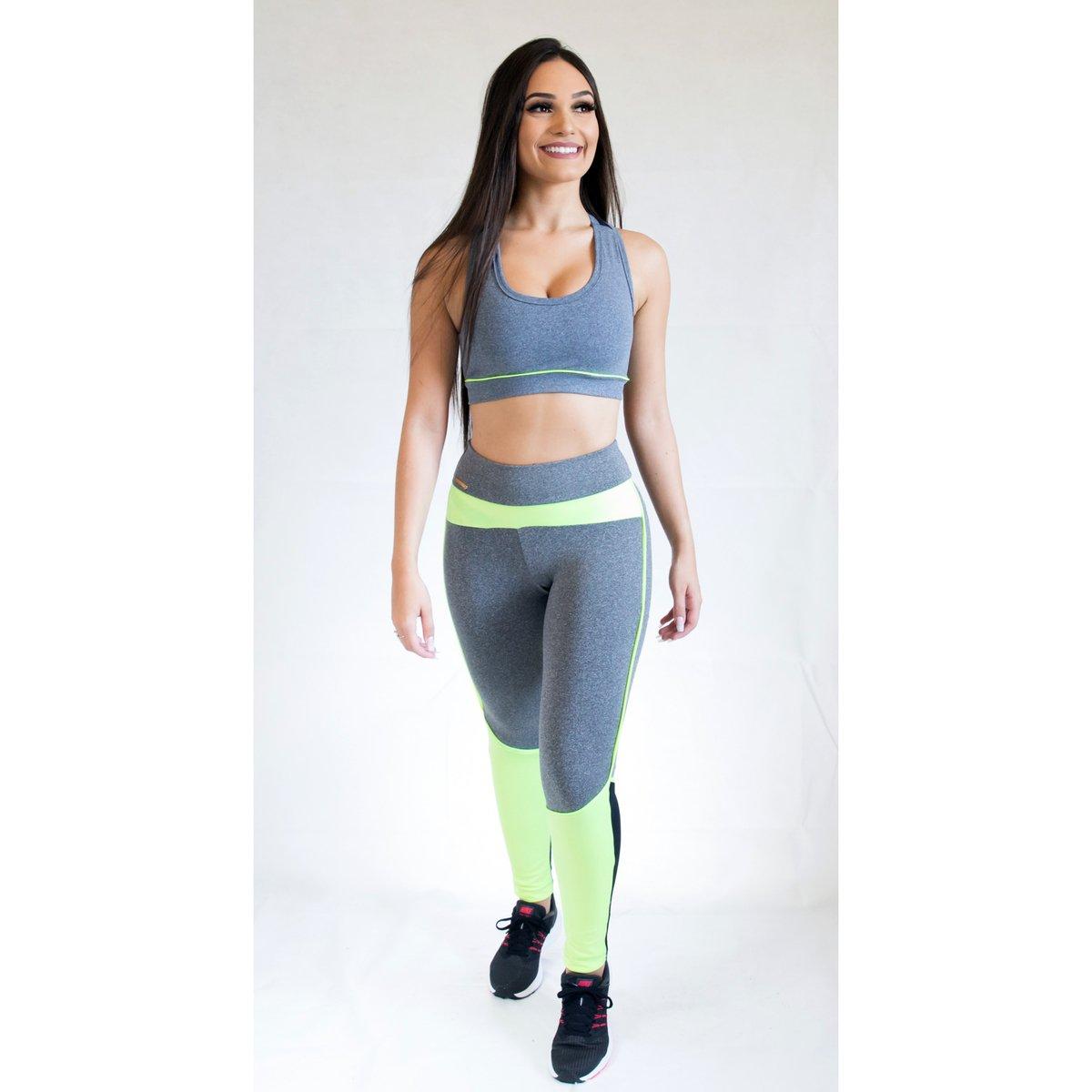 Legging Brasil e Fit Training Verde Calça Feminina Limão Scissor Cinza 7aHCHw