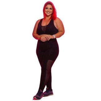 Calça Legging Fitness Amazing Plus Size- Preto e Listras - G1