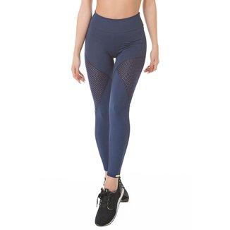 Calça Legging Fitness com detalhe em tela Azul marinho Poliamida Ref 5014C