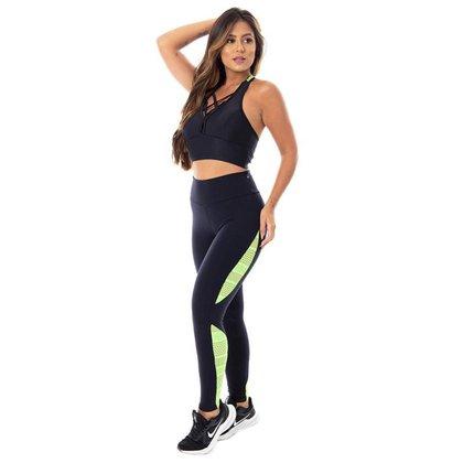 Calça Legging Fitness Feminina Suplex Poliamida Cós Alto Recortes Tela Desenhada Orbis