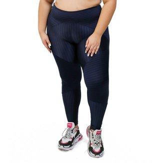 Calça Legging Iluminate Plus Size - Azul - G3 - Ikat azul marinho
