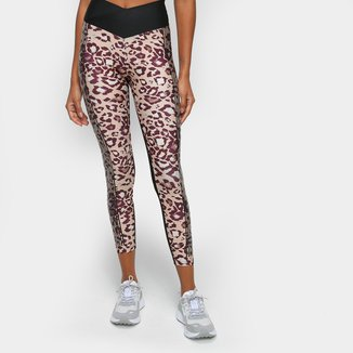 Calça Legging Live! Block Leopard Cintura Alta Feminina