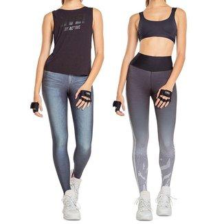 Calça Legging Live! Dupla Face Jeans Rever Motion Feminina