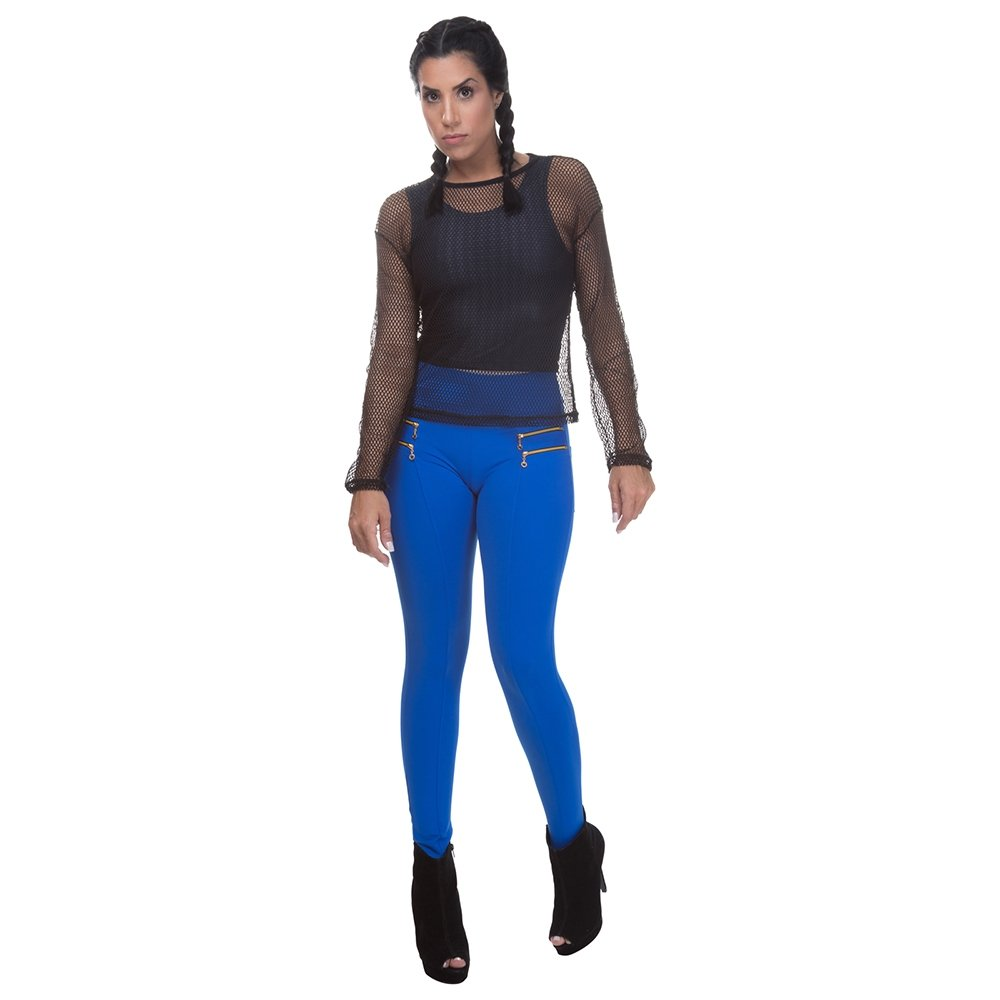 Azul Legging Montaria Royal Miss Montaria Calça Blessed Zipper Miss Legging Calça Blessed Com 87TqPXHwH