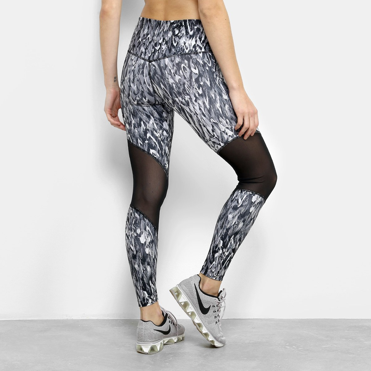 Calça Nike e Preto Printed Rise Tight Legging Feminina High Cinza rT7Prq