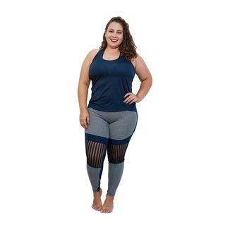Calça Legging Stronger Plus Size - Marinho e Cinza - G2