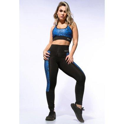 Calça Legging Warfit com Recorte Lateral Sublimado Azul