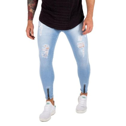 Calça Masculinas Skinny com Elastano Ballad Ceu Ziper