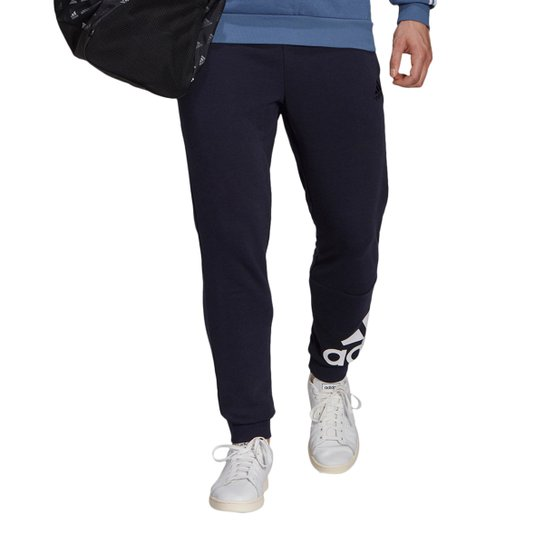 Calça Moletom Adidas Essentials Logo Masculina - Marinho+Branco