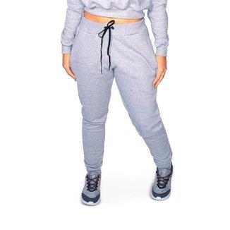 Calça Moletom Feminina Bolsos Punho Cordão Confortável Frio