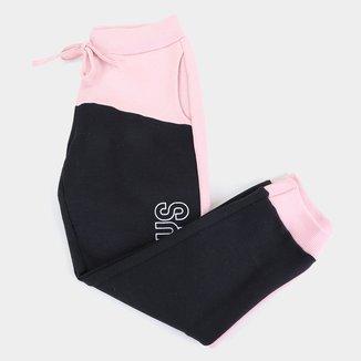 Calça Moletom Infantil Costão Bicolor Feminina