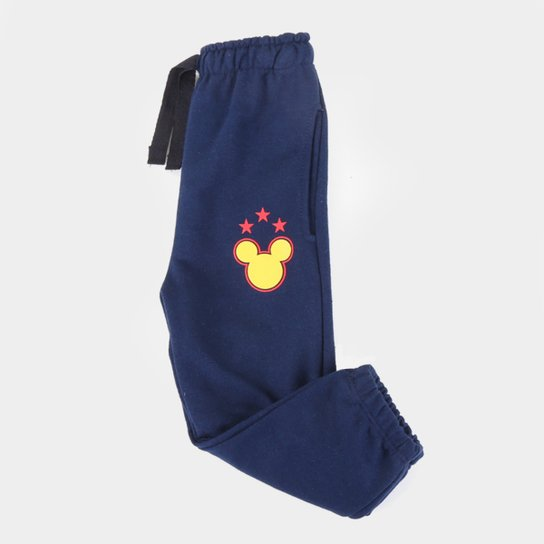 Calça Moletom Infantil Disney Mickey Masculina - Marinho