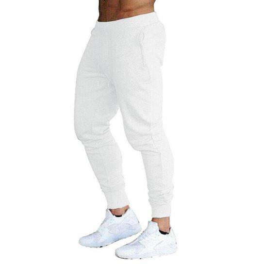 Calça Moletom Masculina Jogger Slim Fit Básica Lisa-AZULMARINHO-PP - Branco