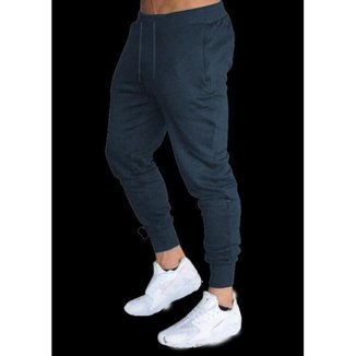 Calça Moletom Masculina Jogger Slim Fit Básica Lisa-AZULMARINHO-PP