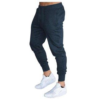 Calça Moletom Masculina Jogger Slim Fit Básica Lisa-BRANCO-GG