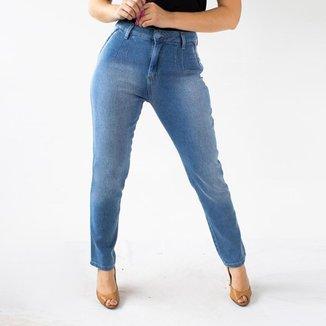 Calça Mom Jeans Feminina Cintura Alta Azul Médio Anticorpus