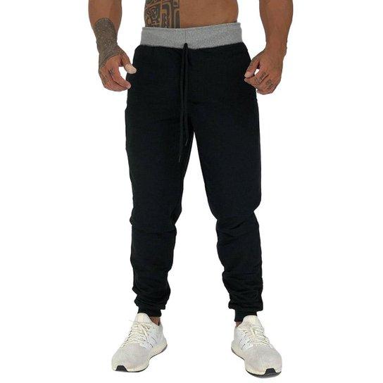 Calça MXD Conceito Moletom Slim Fit Masculina - Preto