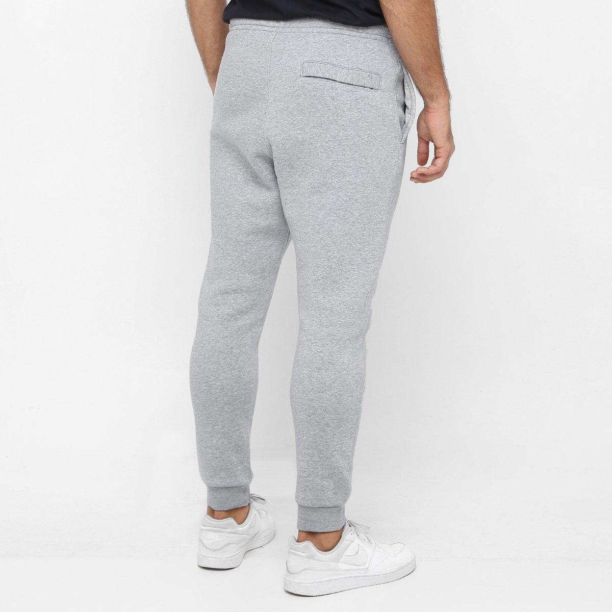 c525105ff7 Calça Nike Nsw Jggr Club Flc Masculina - Cinza e Branco - Compre ...