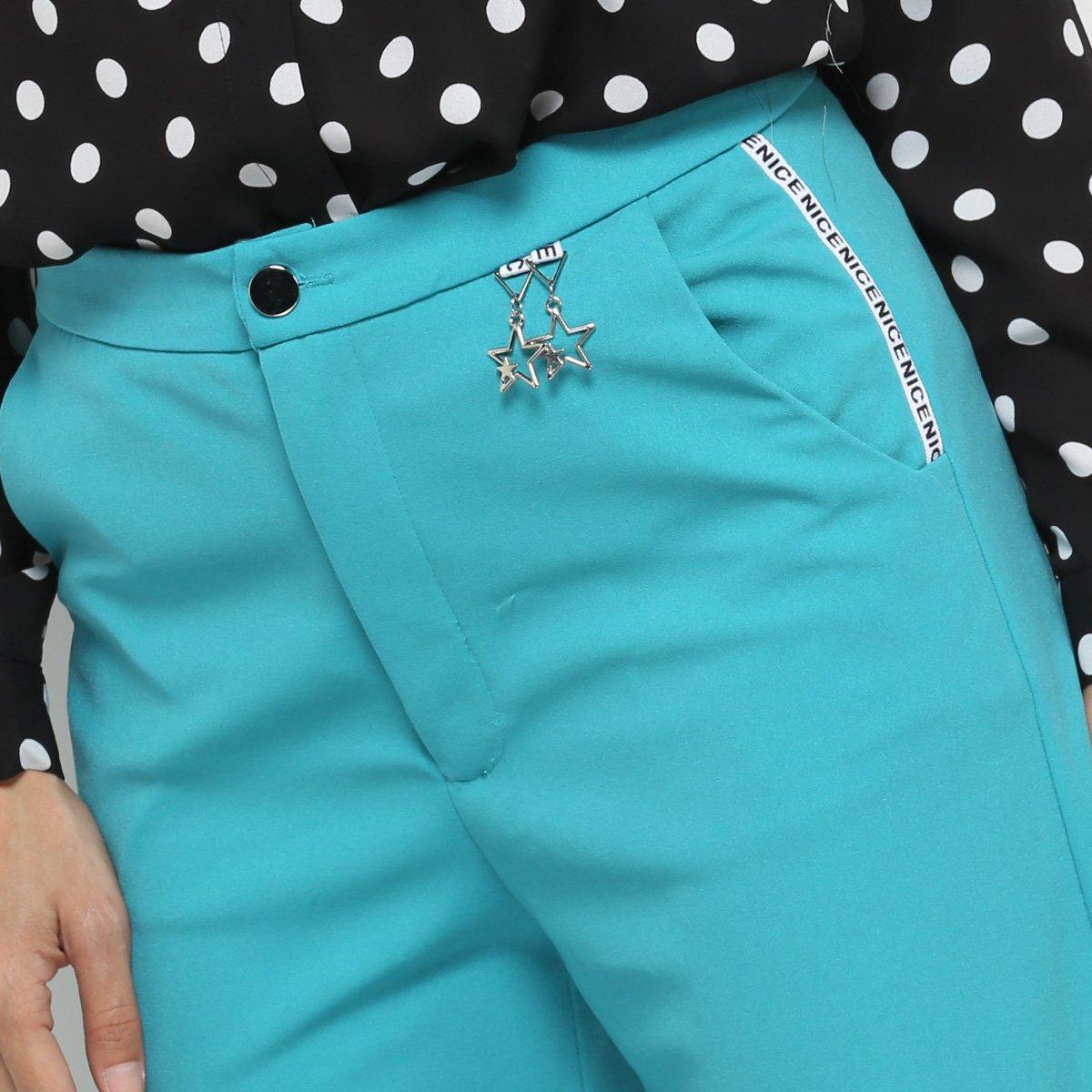 Cintura Acrobat Turquesa Calça Azul Pantacourt Alta Feminina Calça Pantacourt 8qIStS
