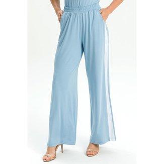 Calça pantalona de malha azul GG