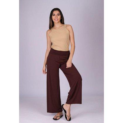 Calça Pantalona Reta Malha Cós Alto Marrom - GG - Veste do 46 ao 48