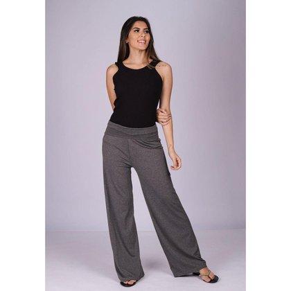 Calça Pantalona Reta Malha Cós Alto Mescla - GG - Veste do 46 ao 48