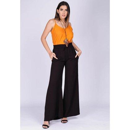 Calça Pantalona Viscose com Fenda Preto - G - Veste do 44 ao 46