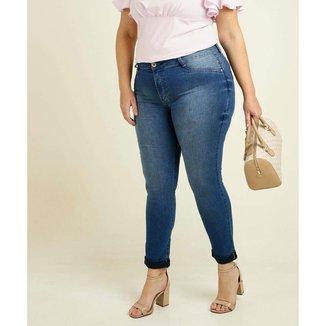 Calça Plus Size Feminina Jeans Skinny Barra Dobrada Biotipo - 10048286909