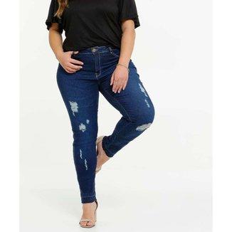 Calça Plus Size Feminina Jeans Skinny Destroyed - 10043989157
