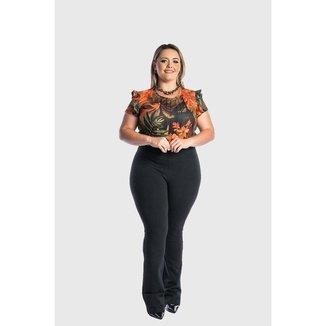 Calça Plus Size Flare Bailarina  Juquitiba Brasil Preta
