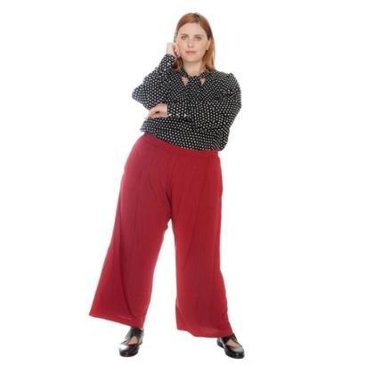 Calca Plus Size Pantacourt Maxi Marsala Feminina