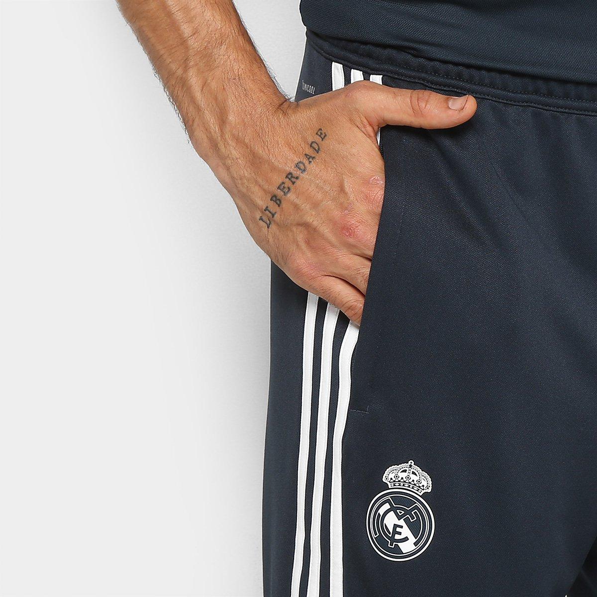 Calça Real Madrid Treino Adidas Masculino - Azul Escuro - Compre ... ce38f80629e91