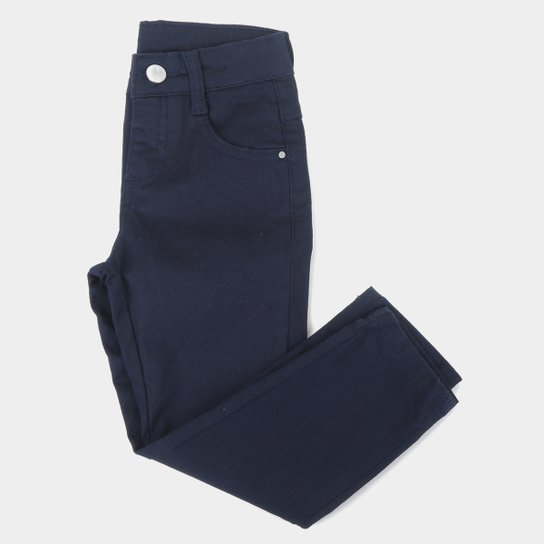 Calça Sarja Infantil Malwee Skinny Básica Feminina - Azul Escuro