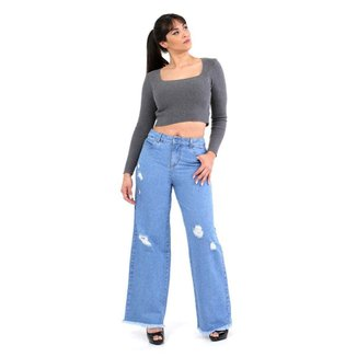Calça Sawary jeans feminina wide leg - 268096 42