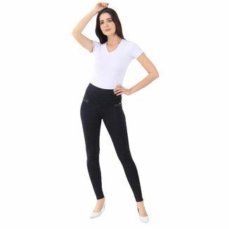 Calça Skinny em Polimiada Lili com Bolso Traseiro Preta