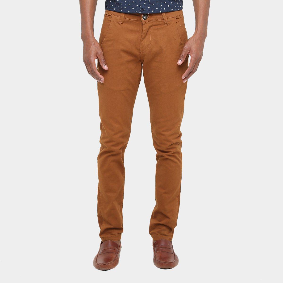 Calça Skinny Preston Color Bolso Faca Masculina - Caramelo - Compre Agora  e9c02ea215d