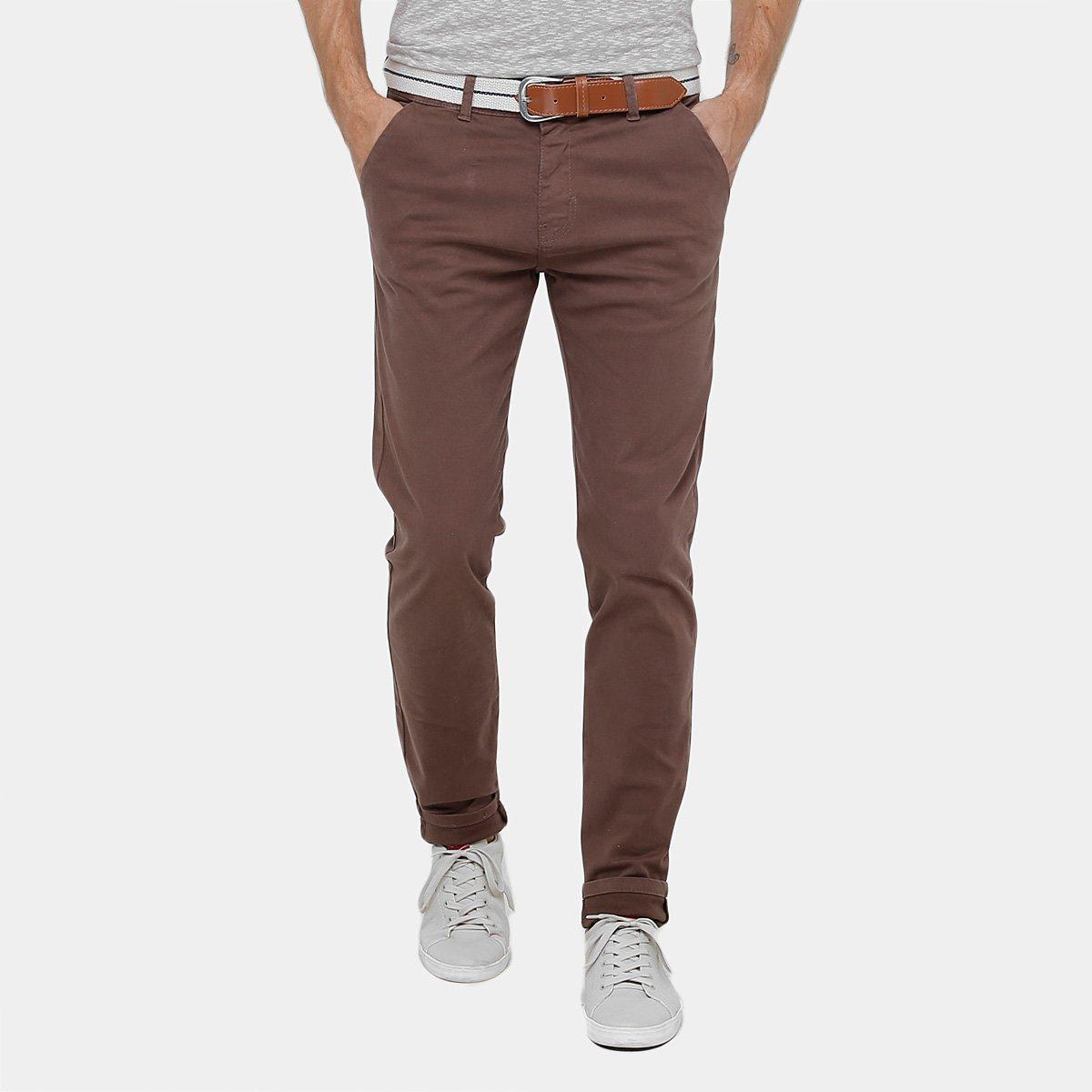 Calça Slim Fit Dardak Sarja Bolso Faca Com Cinto Masculina - Compre Agora  69b0e8ef4bc