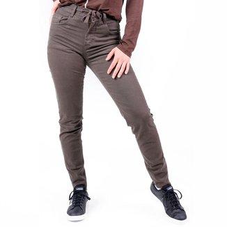 Calça Voox 89 Jeans Jogguing Alta Color Adulta Feminina Verde Militar