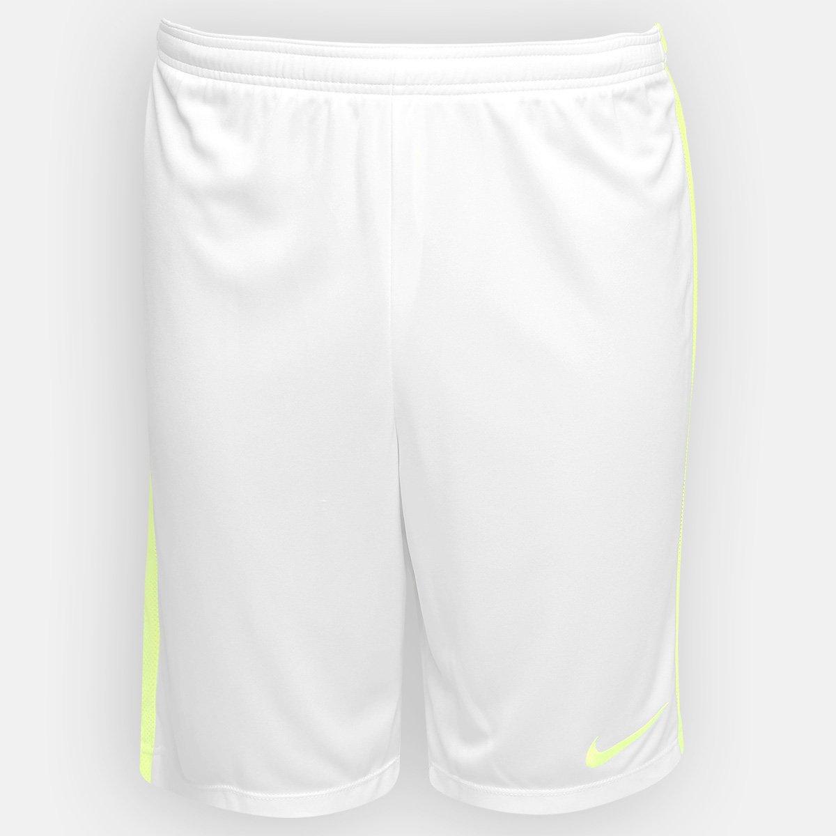7227e59171081 Calção Nike Dry Academy Masculino - Branco e Verde Limão - Compre Agora