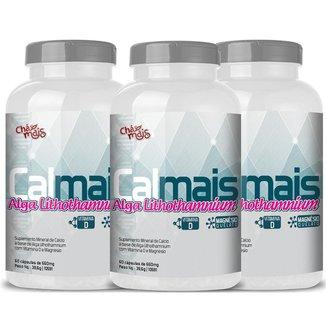Cálcio Alga Lithothamnium Vitam. D e Magnésio 60 cáps. Kit com 3