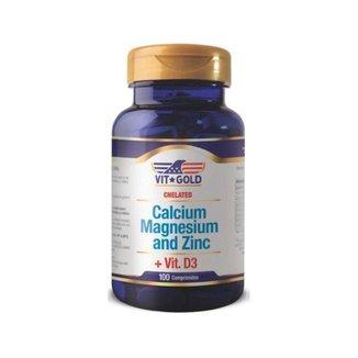 Cálcio Magnésio e Zinco - 100 Comprimidos - VitGold