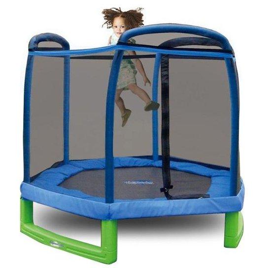 Cama Elástica (Pula-Pula) 2,13 cm com Rede de Segurança e Proteção de Molas - Azul