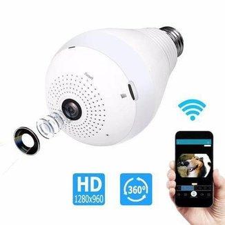 Camera Espia Segurança Lâmpada Visão de 360 Wifi V380