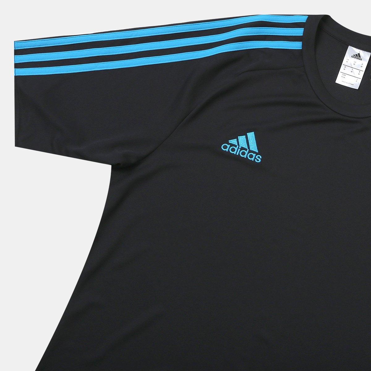 642eea13d9 Camisa Adidas Estro 15 Masculina - Preto e Azul Turquesa - Compre ...