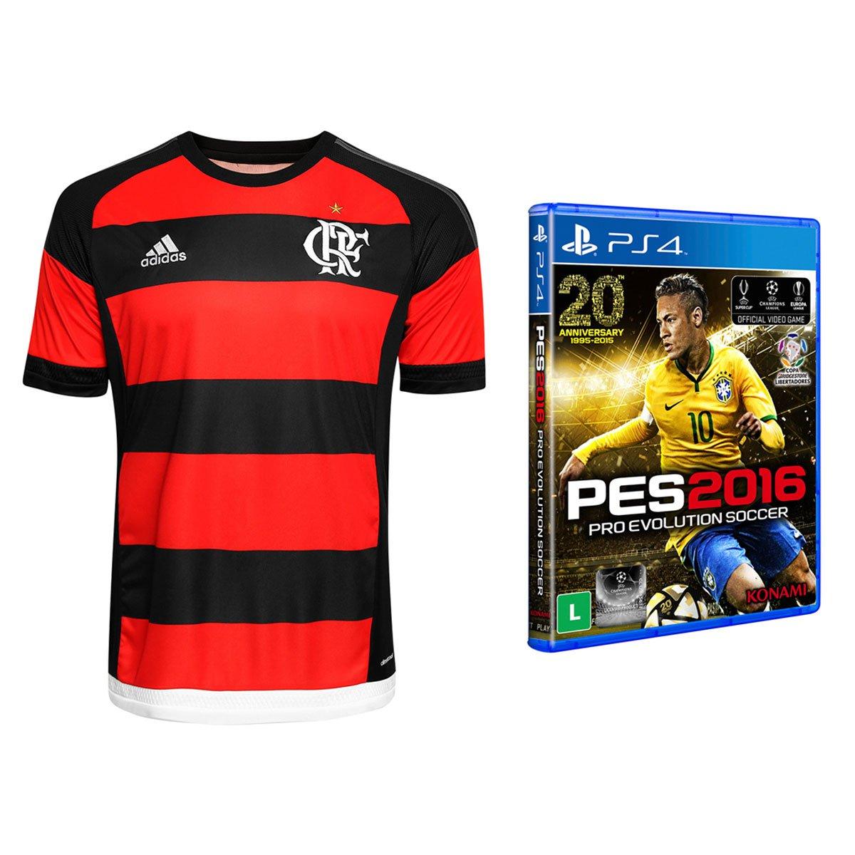 Camisa Adidas Flamengo I 2015 s nº + Jogo Pro Evolution Soccer 2016 PS4 -  Compre Agora  81a46968c16f9