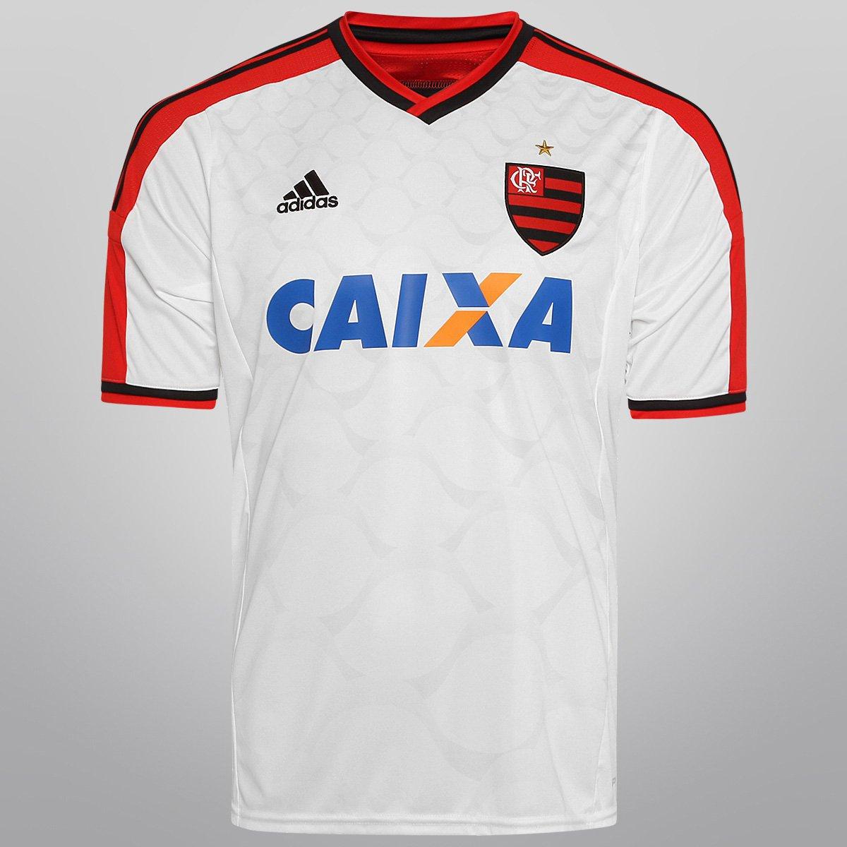 e2ed1a6d13585 Camisa Adidas Flamengo II 14 15 s nº - Branco e Vermelho - Compre Agora