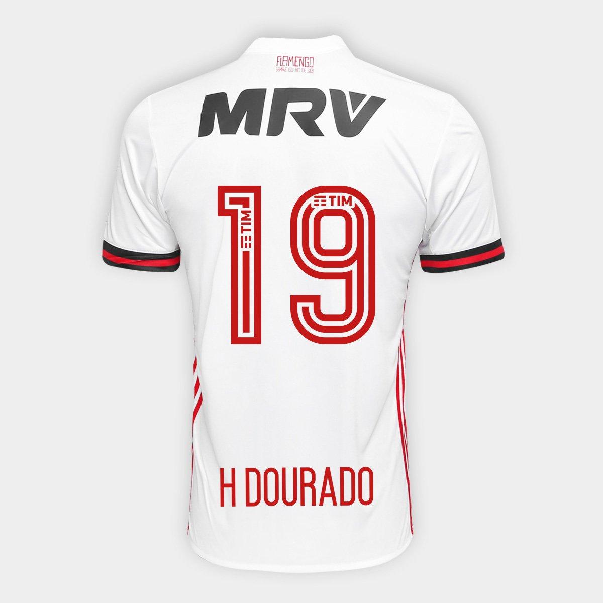 4b177d5554 Camisa Adidas Flamengo II 17 18 H Dourado N° 19 Torcedor Masculina - Compre  Agora